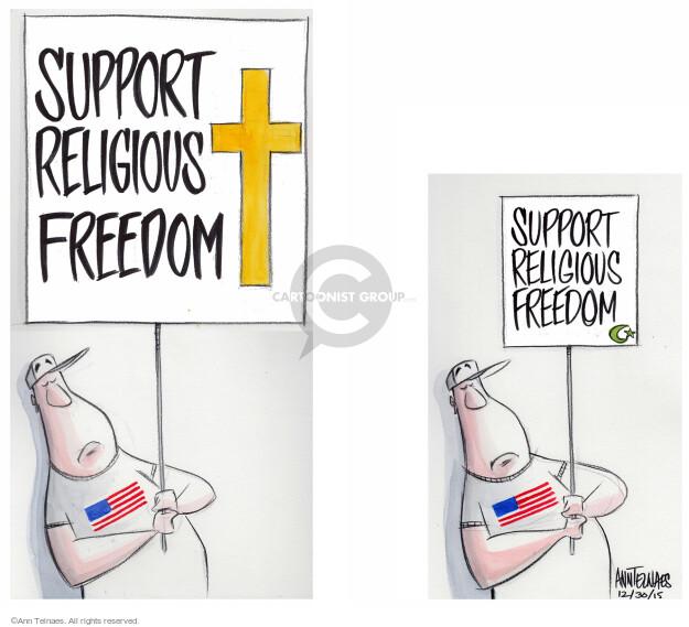 Ann Telnaes  Ann Telnaes' Editorial Cartoons 2015-12-30 separation of church and state