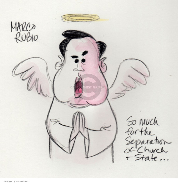 Marco Rubio.  So much for the separation of church & state.  (Live sketch from the January 28 Republican debate.)