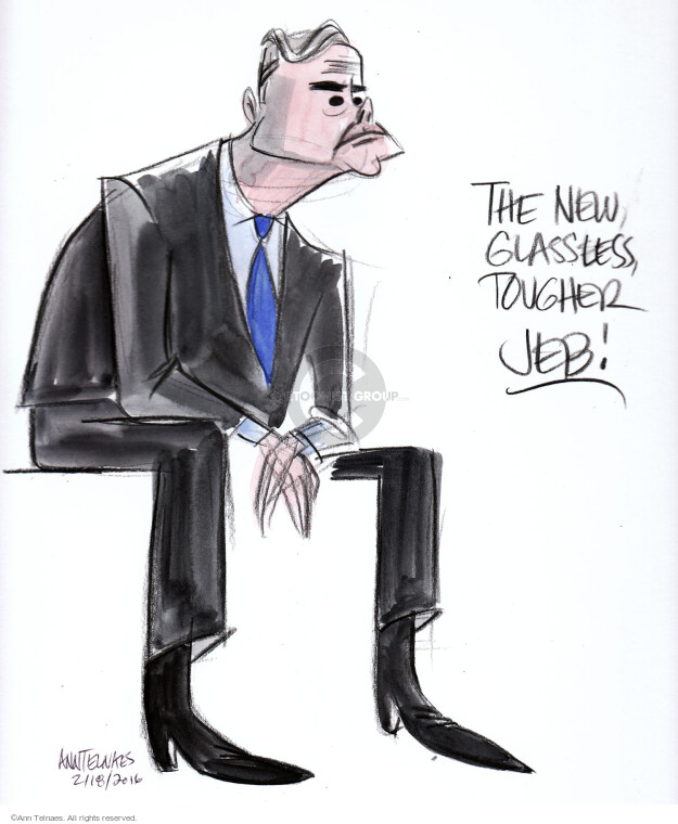 The new glassless, tougher Jeb!  (Live sketch from February 18, 2016 Republican townhall.)