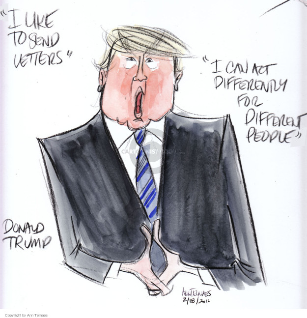 Ann Telnaes  Ann Telnaes' Editorial Cartoons 2016-02-19 act