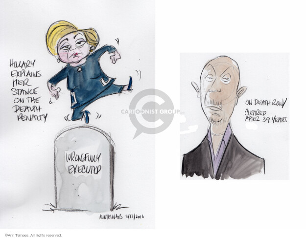 Hillary explains her stance on the death penalty. Wrongfully executed. On death row/Cleared after 39 years.  (Live sketch inspired by March 13, 2016 Democratic town hall.)