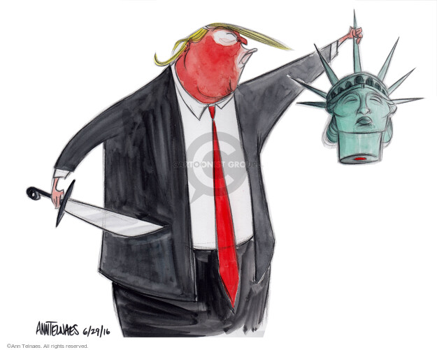 No caption (Donald Trump holds a sword in one hand and the head of Lady Liberty in the other).