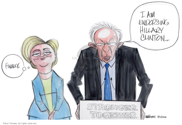 Ann Telnaes  Ann Telnaes' Editorial Cartoons 2016-07-12 Hillary Clinton and Bernie Sanders