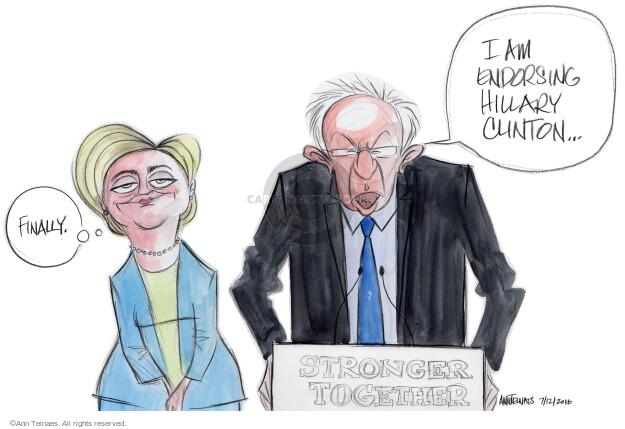 Ann Telnaes  Ann Telnaes' Editorial Cartoons 2016-07-12 2016 Election Bernie Sanders