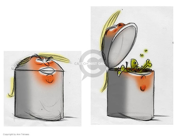 No caption (Illustration of Donald Trump as a trash can).
