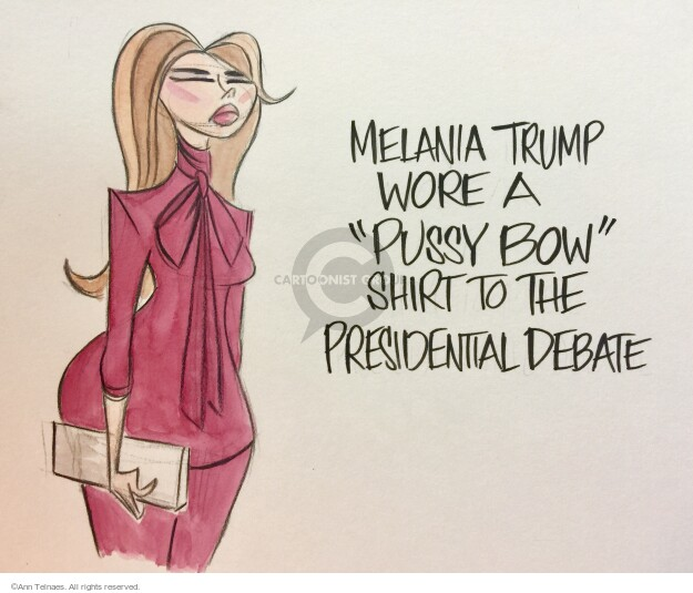 """Melania Trump wore a """"pussy bow"""" shirt to the presidential debate."""