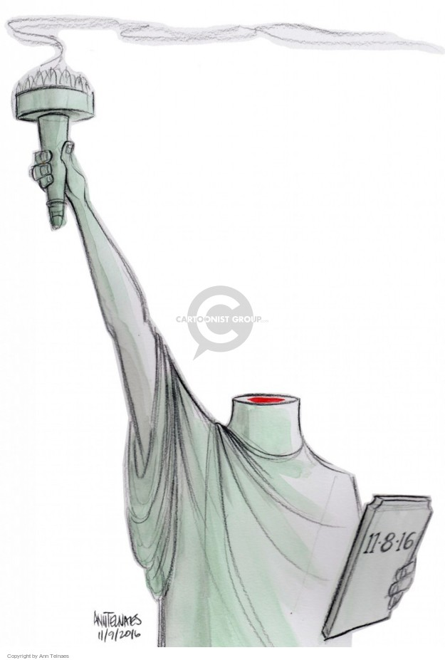 Cartoonist Ann Telnaes  Ann Telnaes' Editorial Cartoons 2016-11-09 statue