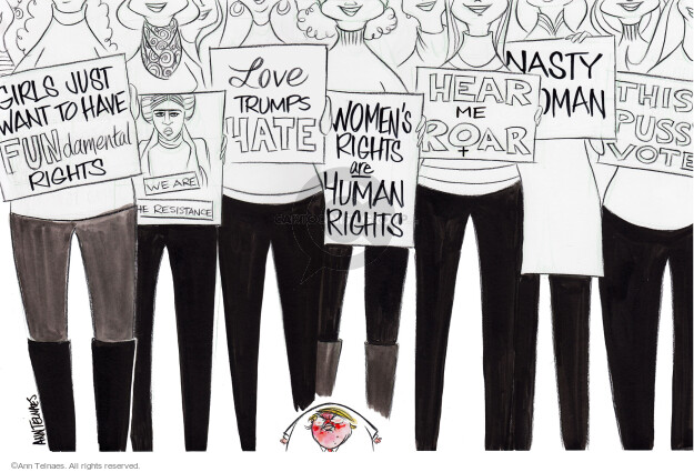 Cartoonist Ann Telnaes  Ann Telnaes' Editorial Cartoons 2017-01-23 protester