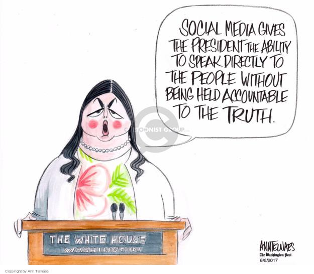 Cartoonist Ann Telnaes  Ann Telnaes' Editorial Cartoons 2017-06-06 Sarah Huckabee Sanders
