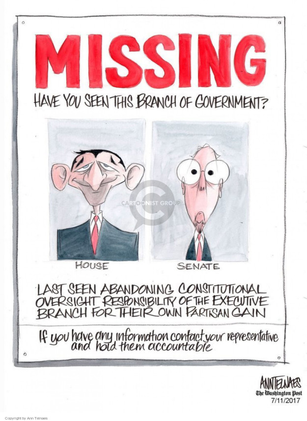 MISSING.  Have you seen this branch of government?  House.  Senate.  Last seen abandoning constitutional oversight responsibility of the executive branch for their partisan gain.  If you have any information contact your reprepentative and hold them accountable.