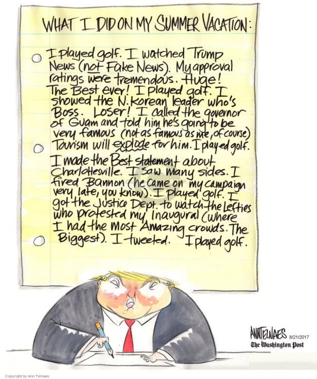 Ann Telnaes  Ann Telnaes' Editorial Cartoons 2017-08-21 know