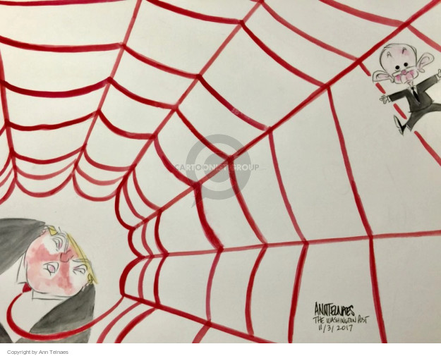 No caption (Jeff Sessions is caught in a red spiderweb made from President Donald Trumps tie).