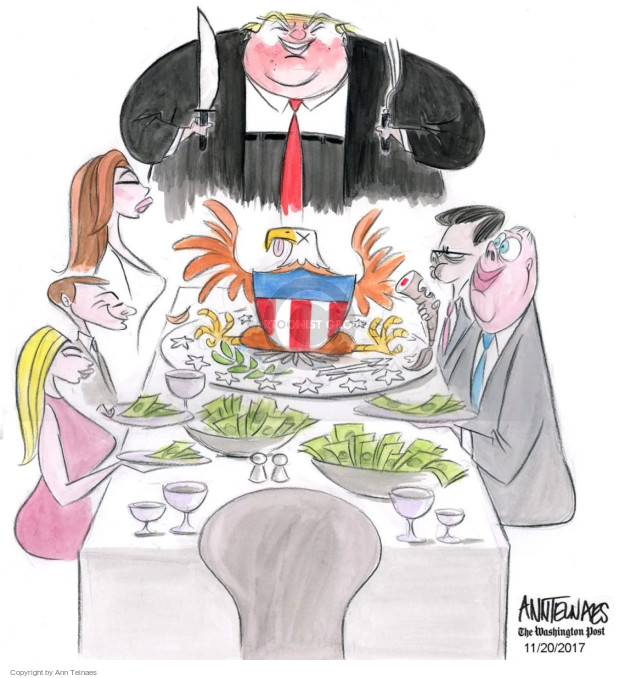 No caption (The Trump family sits around a dinner table where President Donald Trump is carving an American eagle and the plates and bowls are full of money).