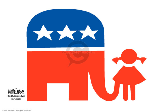 No caption (A Republican elephant has its trunk up a young girls dress).
