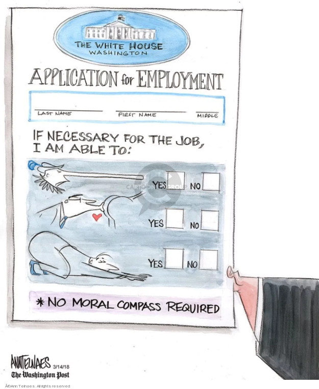 Ann Telnaes  Ann Telnaes' Editorial Cartoons 2018-03-14 presidential administration