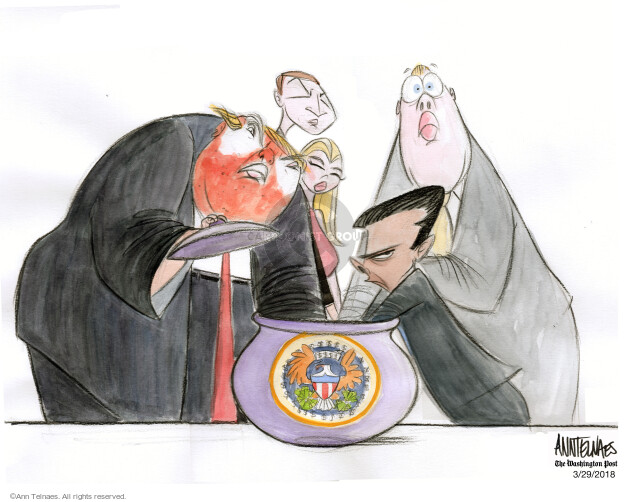 No caption (President Donald Trump and members of his family are caught with their hands in a cookie jar with the presidential seal).