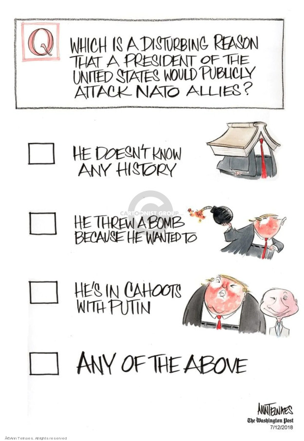Cartoonist Ann Telnaes  Ann Telnaes' Editorial Cartoons 2018-07-12 United States and Russia