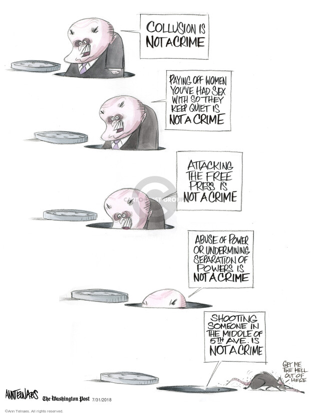 Cartoonist Ann Telnaes  Ann Telnaes' Editorial Cartoons 2018-07-31 crime