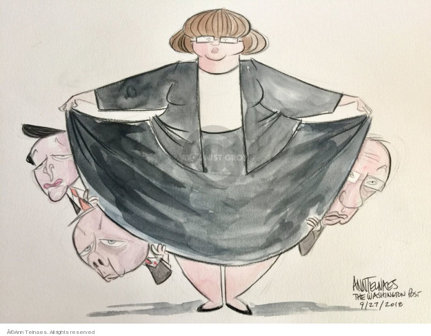 No caption (Male politicians peek out from behind the dress of Prosecutor Rachel Mitchell).