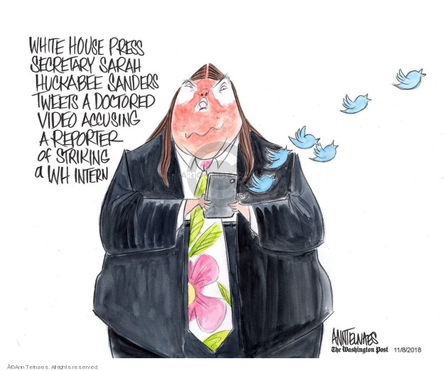 White House Press Secretary Sarah Huckabee Sanders tweets a doctored video accusing a reporter of striking a WH intern.