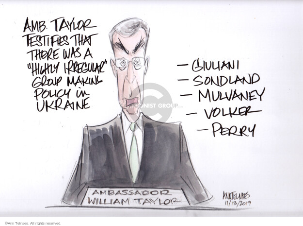 Ann Telnaes  Ann Telnaes' Editorial Cartoons 2019-11-13 William