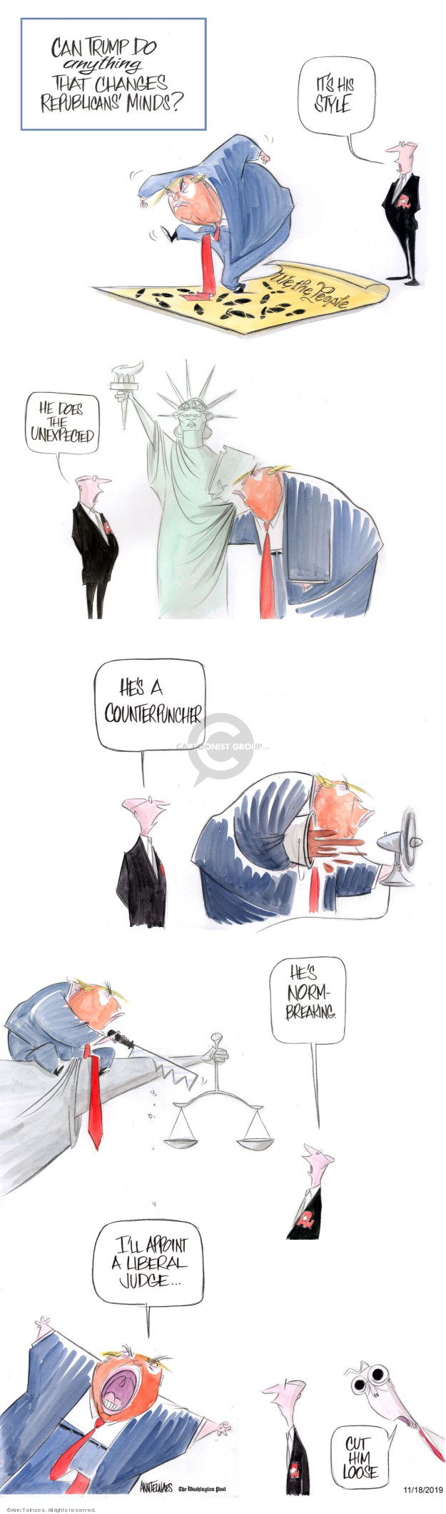 Ann Telnaes  Ann Telnaes' Editorial Cartoons 2019-11-18 style