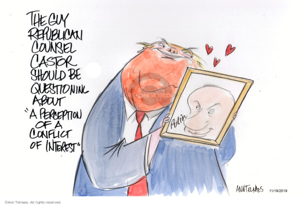 Cartoonist Ann Telnaes  Ann Telnaes' Editorial Cartoons 2019-11-19 United States and Russia