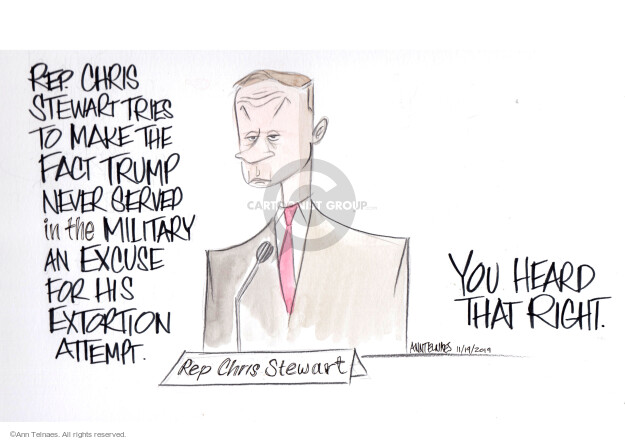 Cartoonist Ann Telnaes  Ann Telnaes' Editorial Cartoons 2019-11-19 extortion