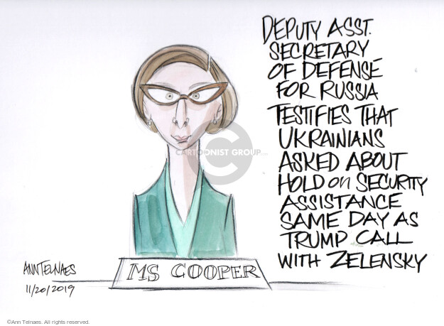 Ann Telnaes  Ann Telnaes' Editorial Cartoons 2019-11-20 Russia