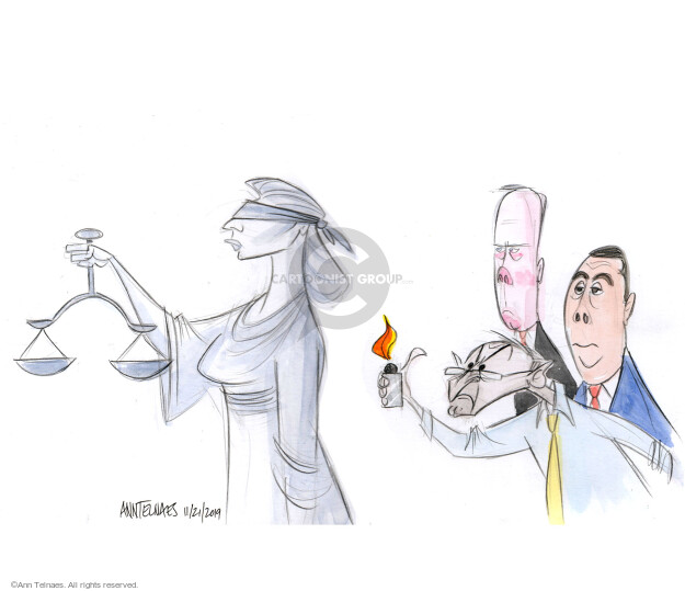 Cartoonist Ann Telnaes  Ann Telnaes' Editorial Cartoons 2019-11-21 Lady Justice