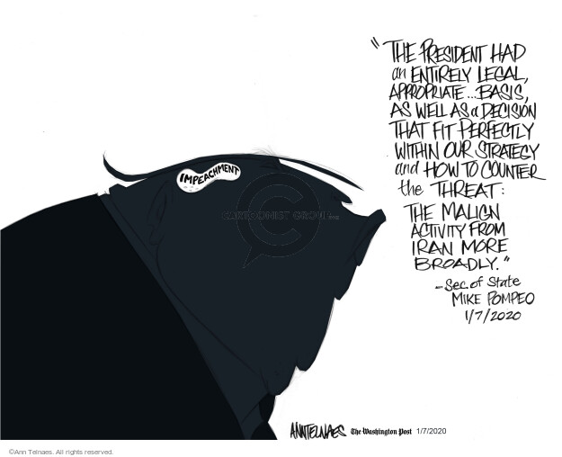 Cartoonist Ann Telnaes  Ann Telnaes' Editorial Cartoons 2020-01-07 Congress and Iraq