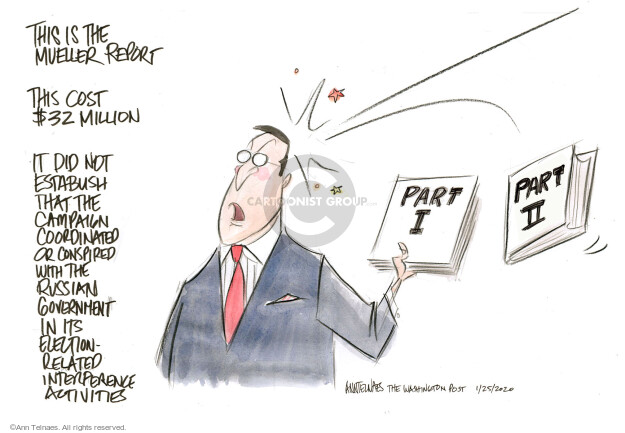 Ann Telnaes  Ann Telnaes' Editorial Cartoons 2020-01-24 Robert Mueller