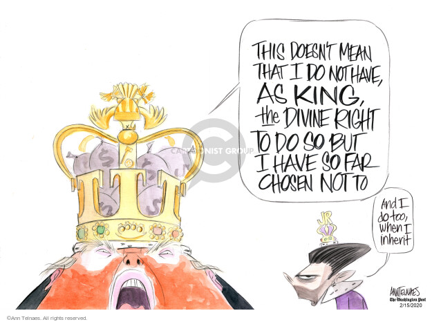 Ann Telnaes  Ann Telnaes' Editorial Cartoons 2020-02-14 abuse of power