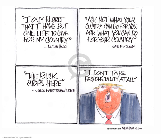 Ann Telnaes  Ann Telnaes' Editorial Cartoons 2020-03-16 buck