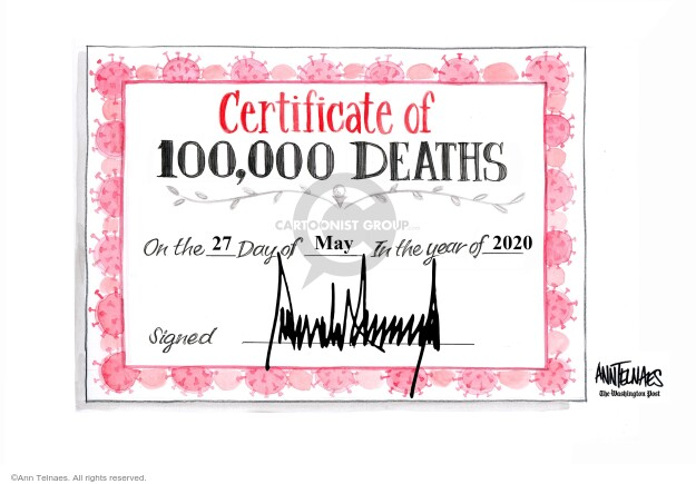 Ann Telnaes  Ann Telnaes' Editorial Cartoons 2020-05-27 death