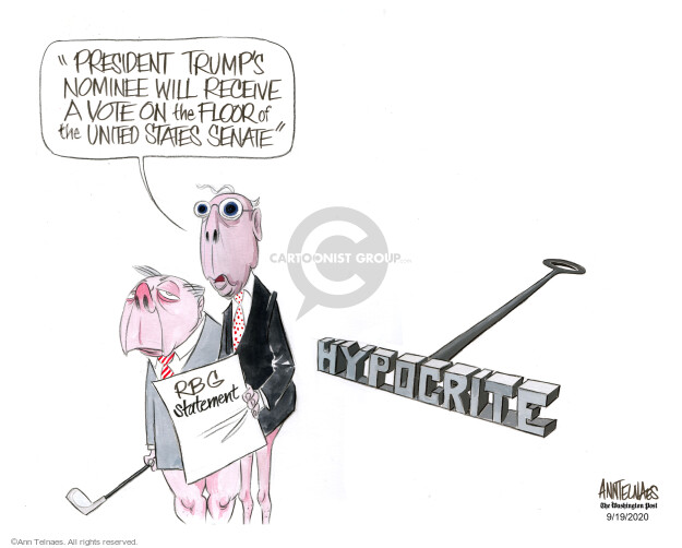 Ann Telnaes  Ann Telnaes' Editorial Cartoons 2020-09-19 Supreme Court appointment