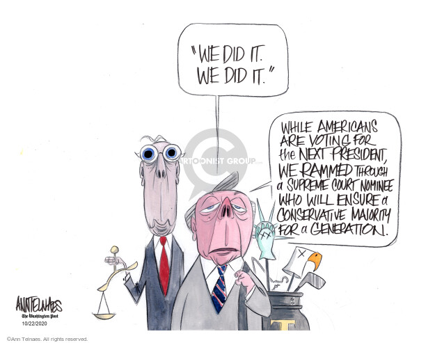 Ann Telnaes  Ann Telnaes' Editorial Cartoons 2020-10-22 Supreme Court appointment