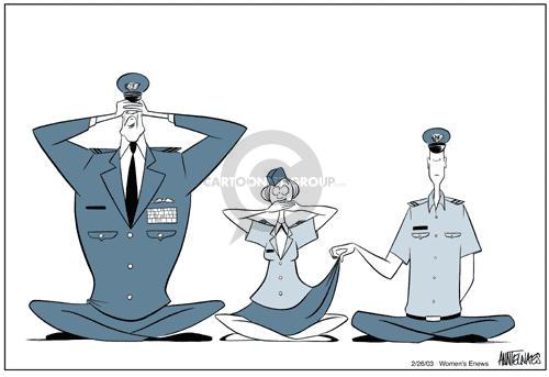 Cartoonist Ann Telnaes  Ann Telnaes' Women's  eNews Cartoons 2003-02-26 military academy