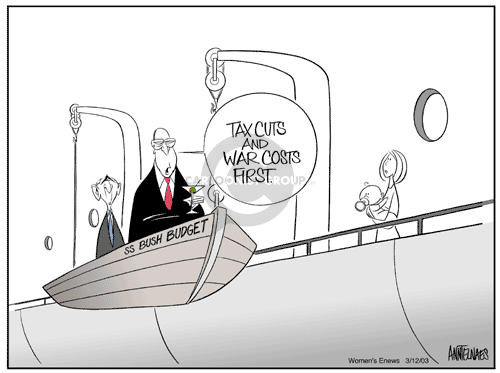 Tax cuts and war costs first.  SS Bush Budget.