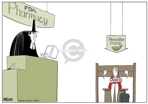 Cartoonist Ann Telnaes  Ann Telnaes' Women's  eNews Cartoons 2004-03-18 reproductive freedom