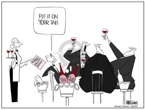 Cartoonist Ann Telnaes  Ann Telnaes' Women's  eNews Cartoons 2003-08-28 tax