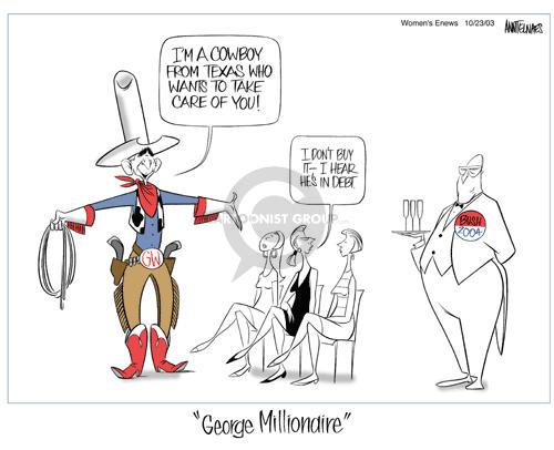Ann Telnaes  Ann Telnaes' Women's  eNews Cartoons 2003-10-22 economy