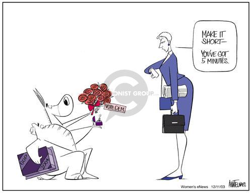 Ann Telnaes  Ann Telnaes' Women's  eNews Cartoons 2003-12-11 flower bouquet