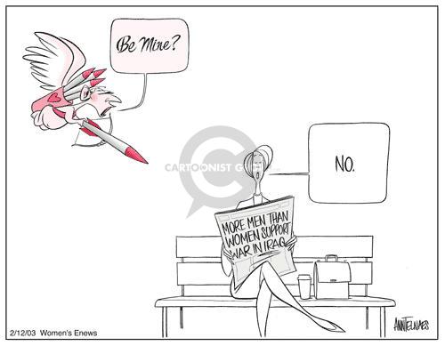Cartoonist Ann Telnaes  Ann Telnaes' Women's  eNews Cartoons 2003-02-12 Valentine's Day