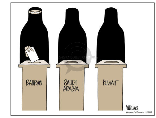 Ann Telnaes  Ann Telnaes' Women's  eNews Cartoons 2002-11-06 Bahrain