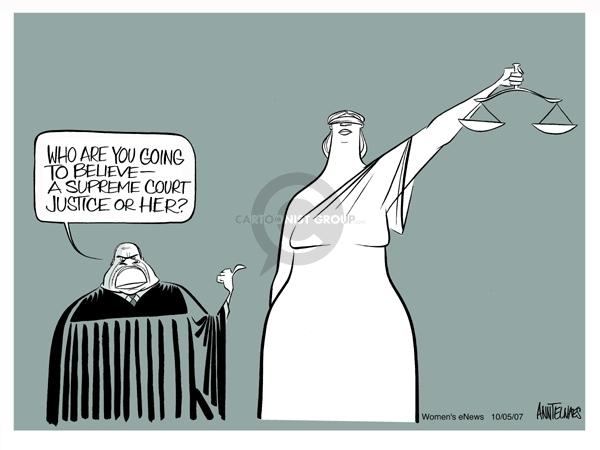 Cartoonist Ann Telnaes  Ann Telnaes' Women's  eNews Cartoons 2007-10-05 court