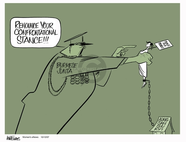 Cartoonist Ann Telnaes  Ann Telnaes' Women's  eNews Cartoons 2007-10-12 junta