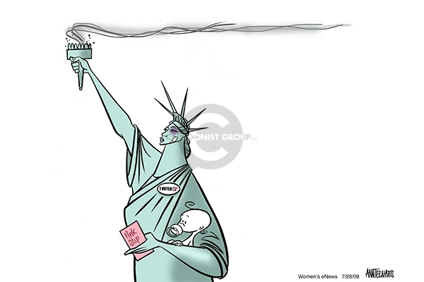 "No caption.  (A bruised and battered Statue of Liberty holds a pink slip and a baby.  She wears an ""I voted"" button.)"
