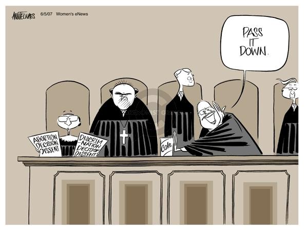 Cartoonist Ann Telnaes  Ann Telnaes' Women's  eNews Cartoons 2007-06-05 court
