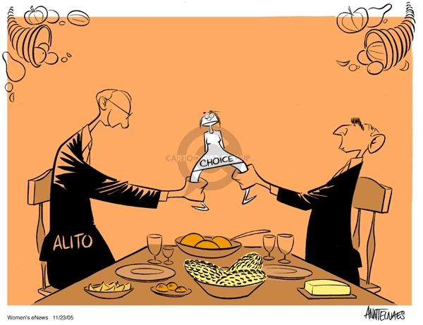 """Alito.  Choice.  (President Bush and Samuel Alito sit at a Thanksgiving table.  They are set to pull apart a """"Choice"""" woman as if she is a wishbone.)"""